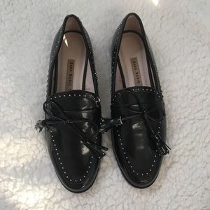 Zara Black Studded Loafers Tassel Sz 37 NEW